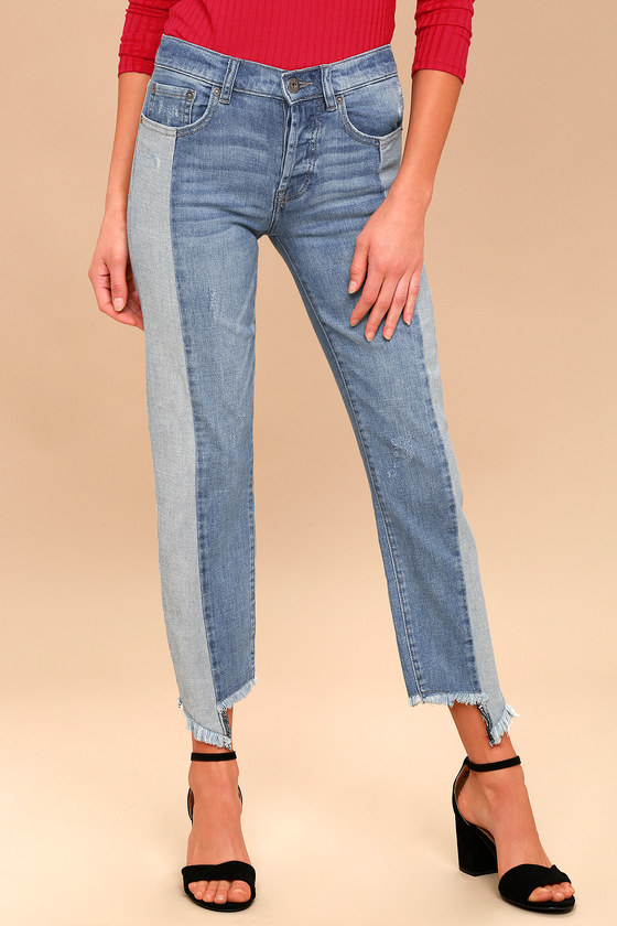 cf80dd99f862 Pistola - Light Wash Two-Tone Jeans - Distressed Jeans