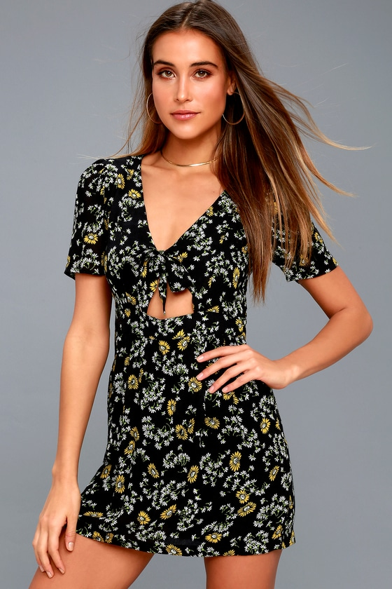 d6eeeb886bc Free People Jinx - Black Floral Print Romper - Skort Dress