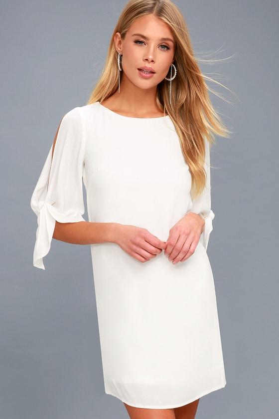 63827606a2 Cute White Dress - Shift Dress - Tie-Sleeve Dress