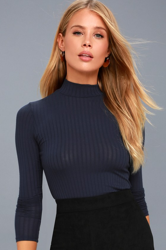 c721bffd Someone Like You Navy Blue Long Sleeve Mock Neck Top