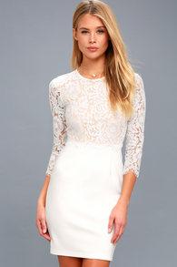 dcfc8bf4b57 Sexy White Dress - White Lace Dress - Long Sleeve Lace Dress