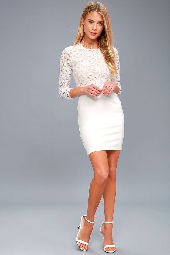 bd61fcac080 Sexy White Lace Bodycon Dress - White and Nude Bodycon Dress