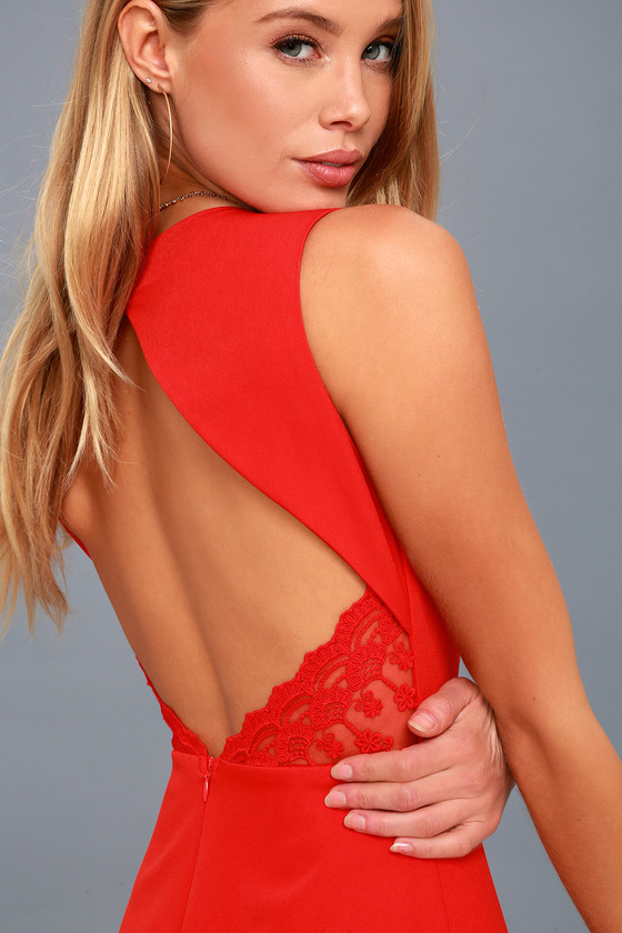 Flirt and Flair Red Backless Skater Dress