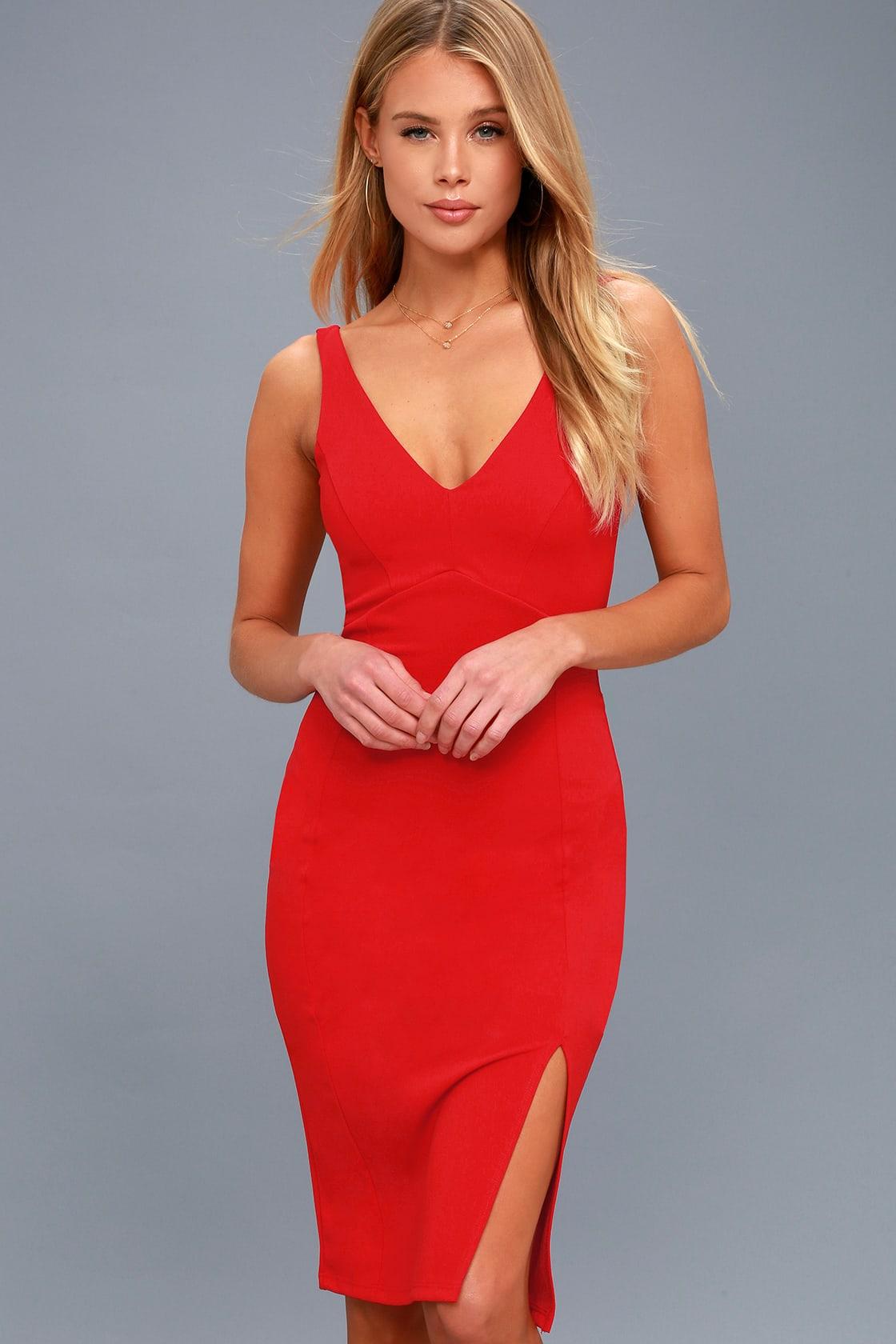 Iconic Moment Red Bodycon Midi Dress
