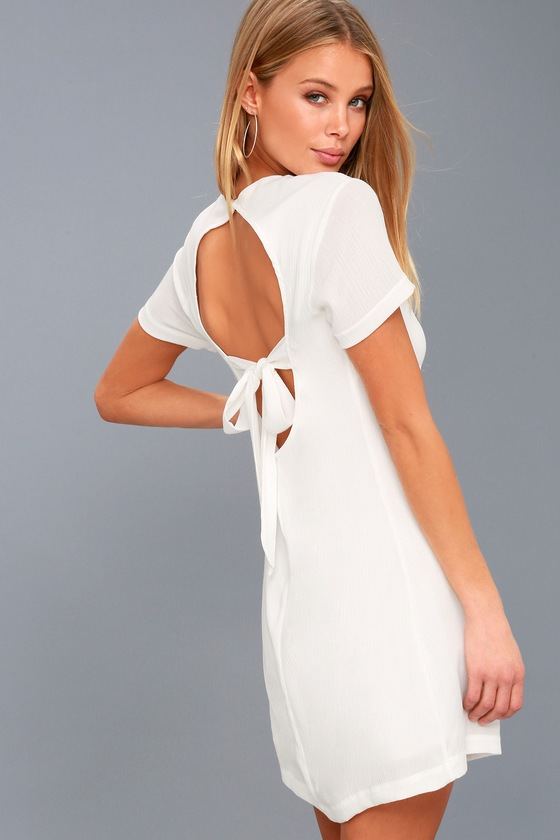 White Short Backless Dress