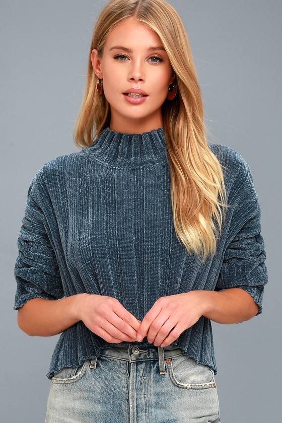 Cozy Chenille Sweater Teal Blue Sweater Cropped Sweater