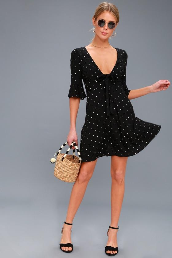 470ad859b7b Free People All Yours - Black Polka Dot Dress