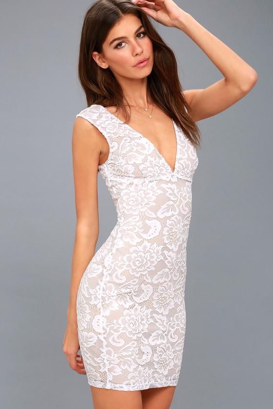 5d00e58f33cb Lovely White Dress - Lace Dress - Sleeveless Bodycon Dress