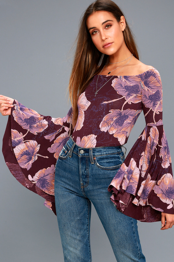 436f4d359058 Free People Birds of Paradise - Plum Purple Floral Print Top