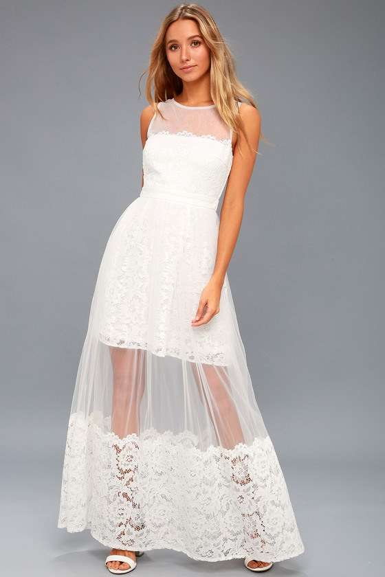 1940s Style Wedding Dresses | Classic Wedding Dresses Minnie White Lace Maxi Dress - Lulus $120.00 AT vintagedancer.com