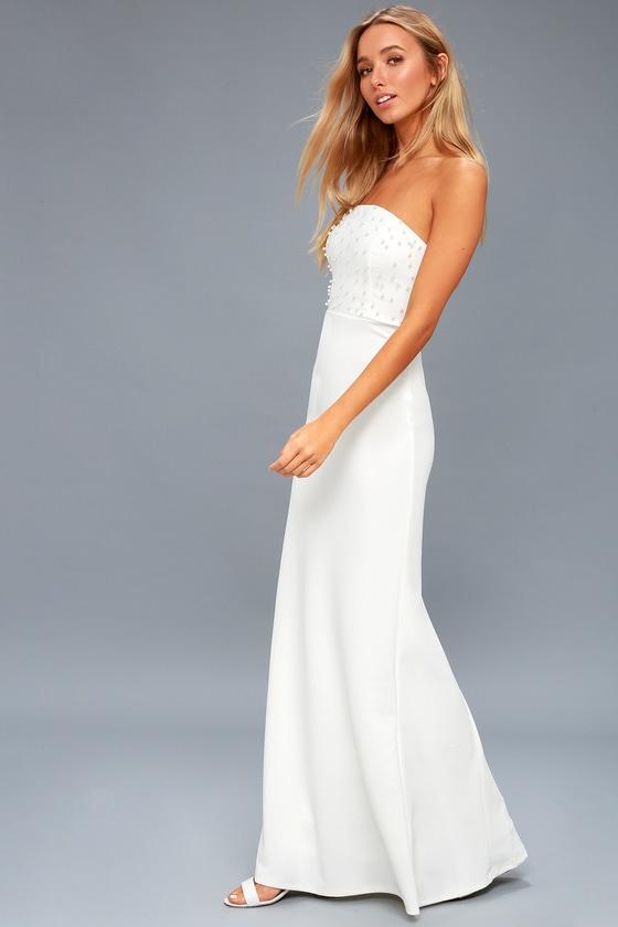 fea00291b93b3 Stunning White Dress - Pearl Dress - Strapless Maxi Dress