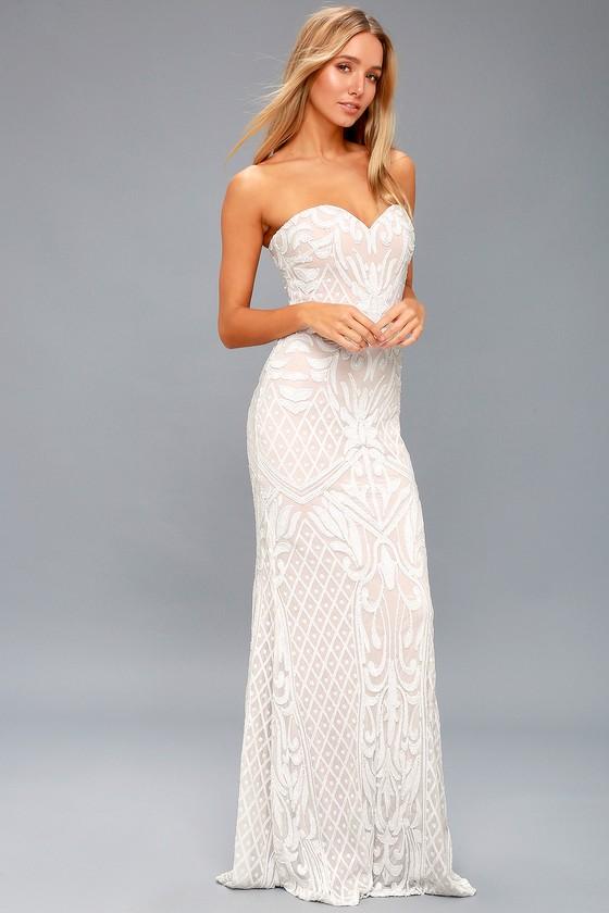 Olivia White Sequin Strapless Maxi Dress 2