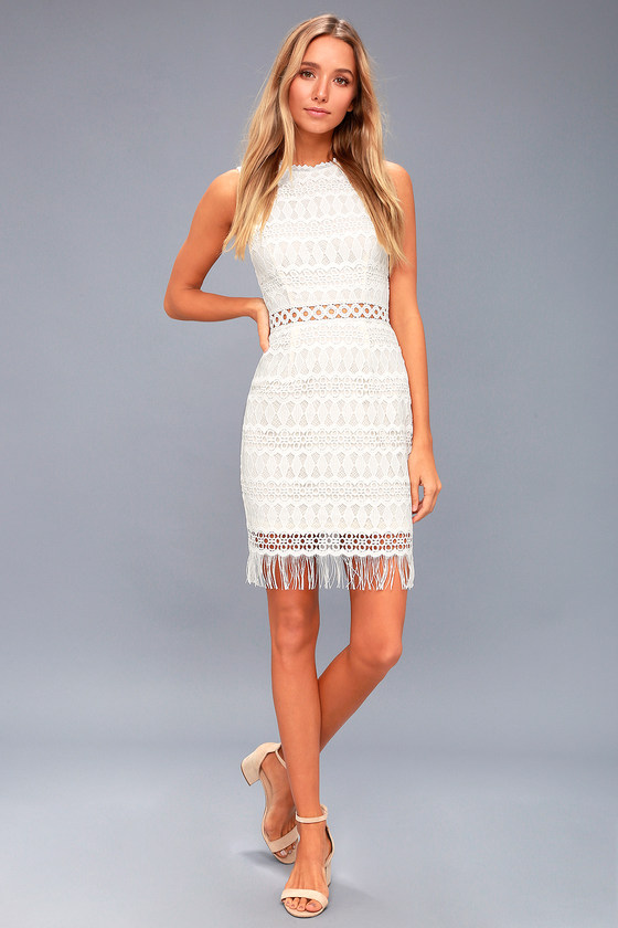 Lovely White Lace Dress Bodycon Dress Sleeveless Dress