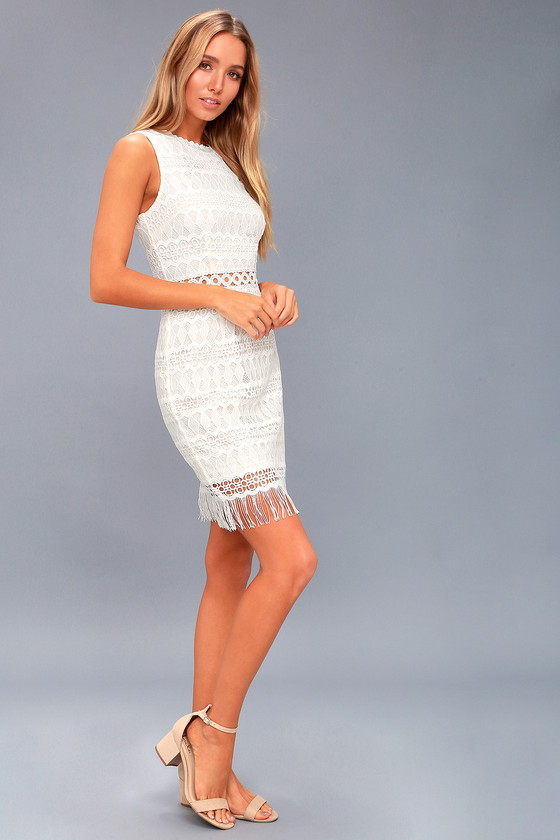 Lovely White Lace Dress - Bodycon Dress - Sleeveless Dress 60943d387