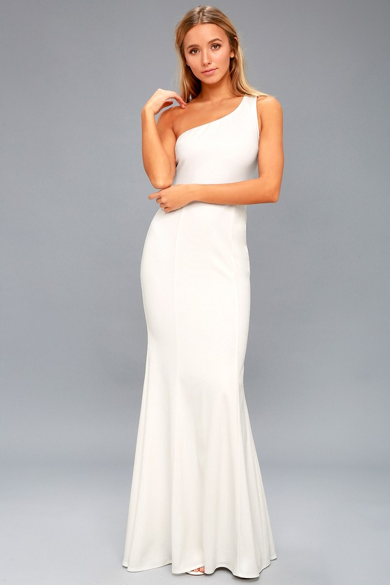 eb35b9c1345 Lovely White Maxi Dress - White One-Shoulder Dress