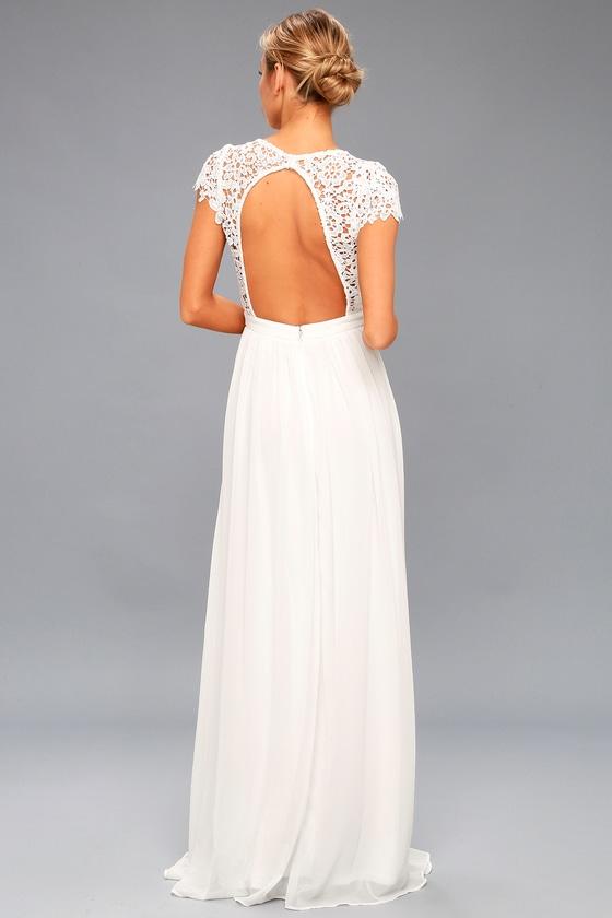 Stunning White Lace Maxi Backless Maxi Lace Maxi Dress