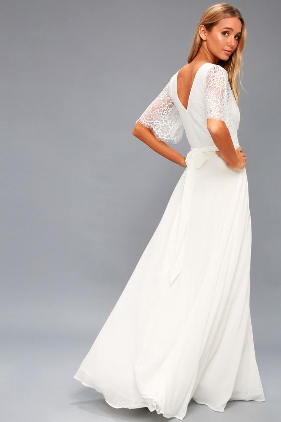 1940s Style Dresses | 40s Dress, Swing Dress Daphne White Lace Maxi Dress - Lulus $92.00 AT vintagedancer.com