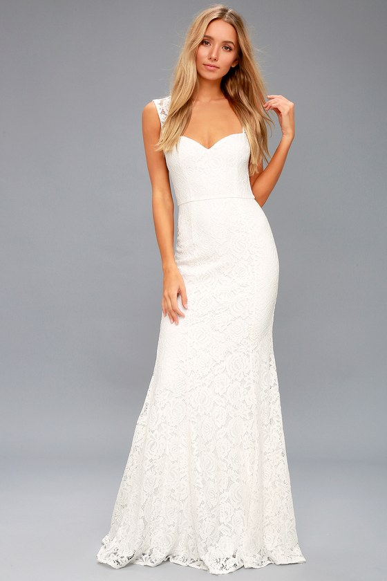 c1f7366058f Gorgeous White Lace Dress - Lace Maxi Dress - Mermaid Dress