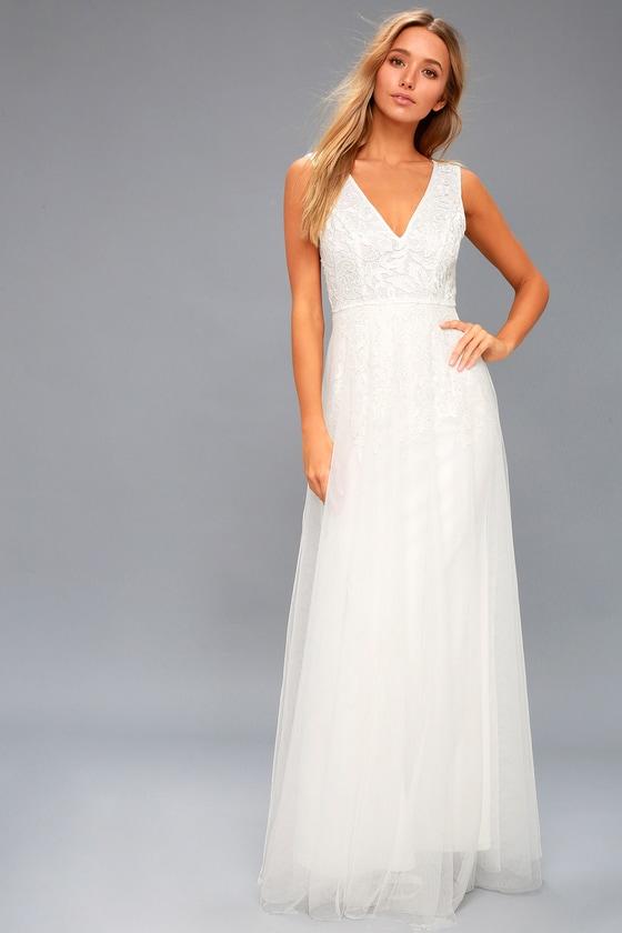 Lace wedding dresses gowns white bridal dresseslulus minnie white lace maxi dress 1 junglespirit Gallery