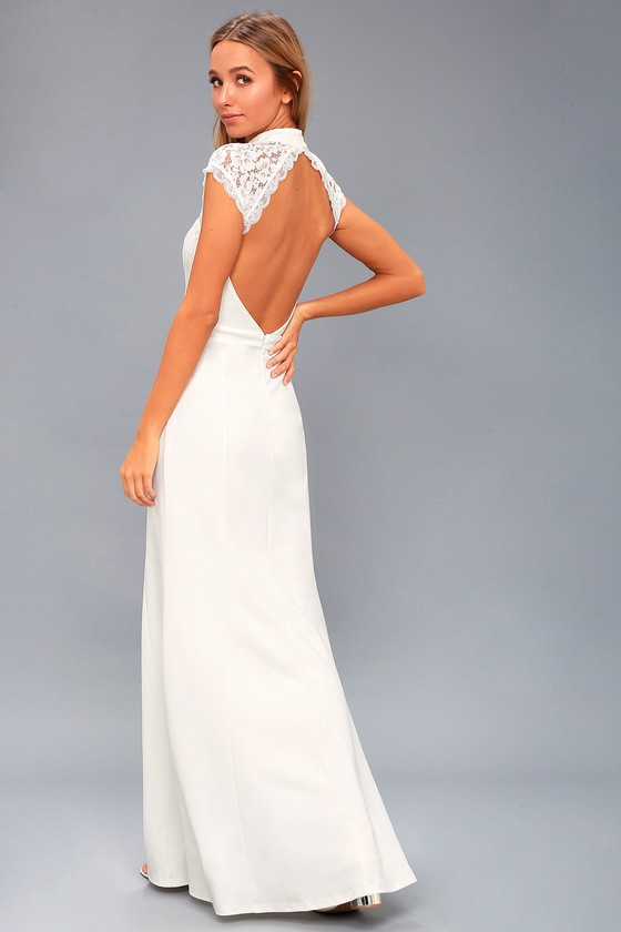 9489ec0a9dd Crazy About You White Backless Lace Maxi Dress by Lulus