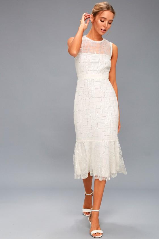 8a5348a9c60 Jeanette White Sequin Midi Dress