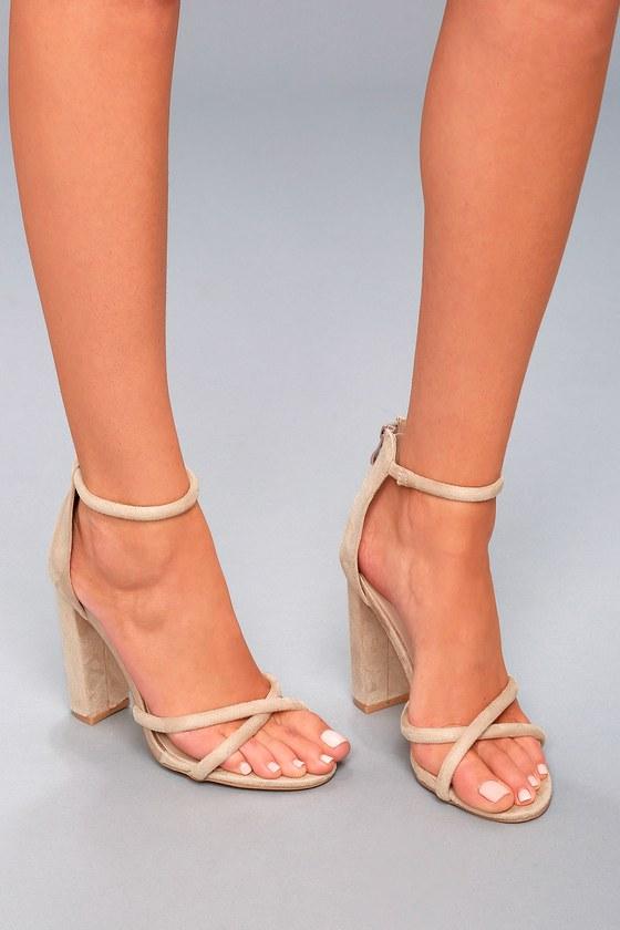 Lulus Jam Suede Rhinestone Ankle Strap Heels - Lulus 65OJGyU