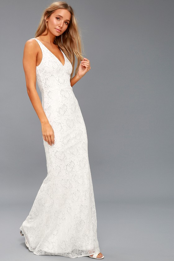Stunning White Maxi Dress - Lace Maxi Dress - Bridal Dress