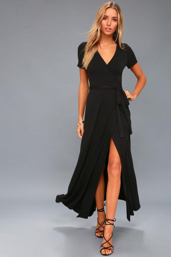 Lovely Black Dress Wrap Dress Black Maxi Dress