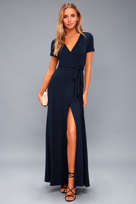 Lovely Navy Blue Dress Wrap Dress Maxi Dress