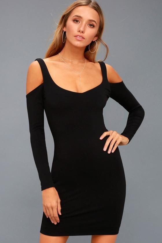 ac5fde79fbe Chic Bodycon Dress - Cold-Shoulder Dress - LBD