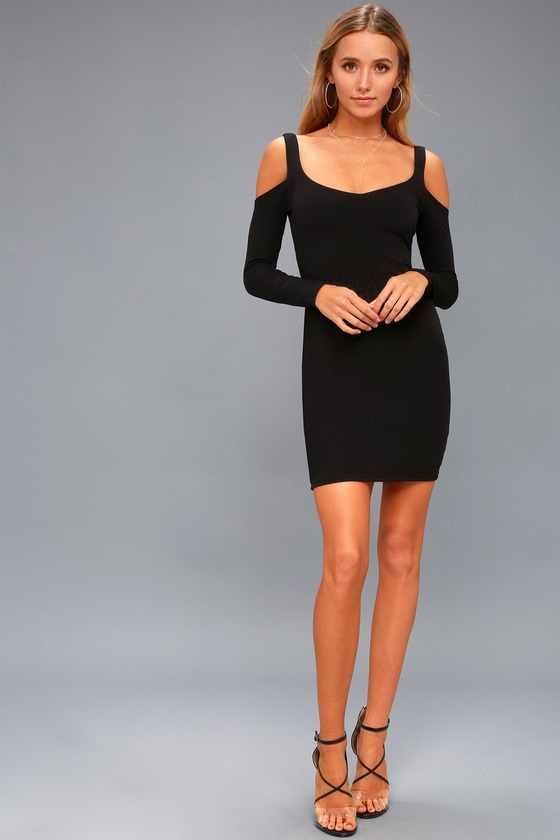 122bdb3821 Chic Bodycon Dress - Cold-Shoulder Dress - LBD