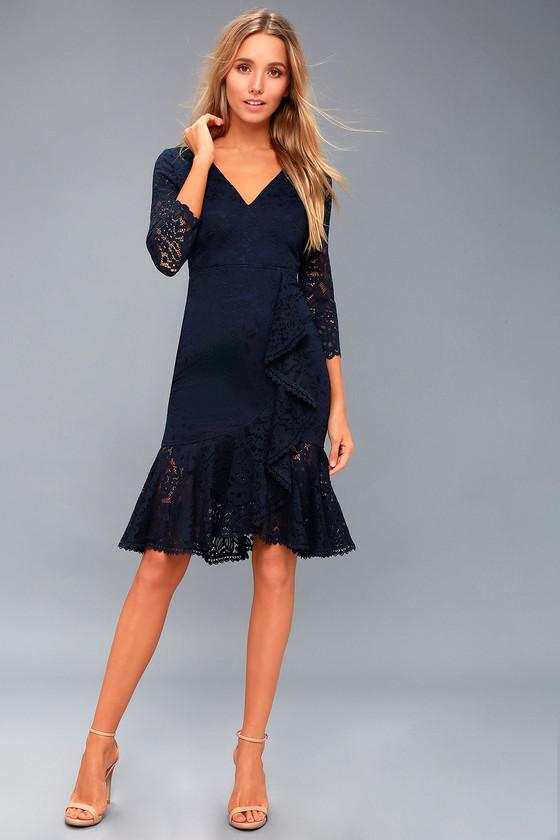 2eda2a89e15b2 Chic Lace Midi Dress - Ruffled Lace Dress - Blue Lace Dress