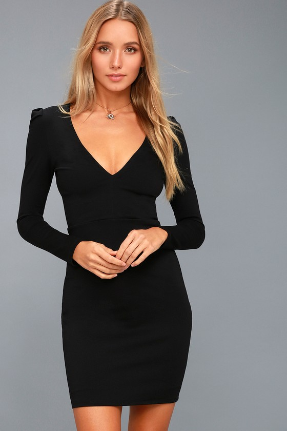 7eac47ccee Sexy Black Bodycon Dress - Puff Sleeve Dress - V Neck Dress