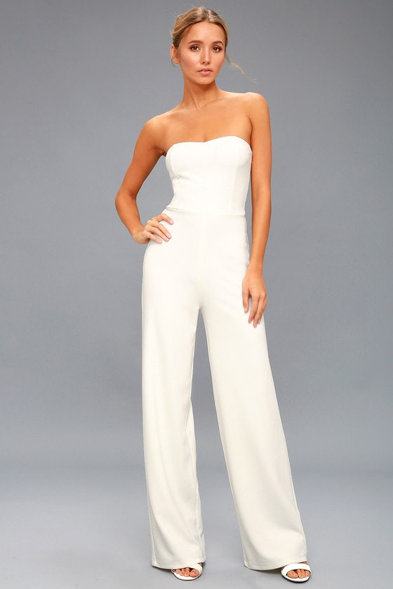 Edith White Strapless Jumpsuit