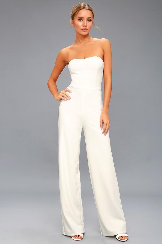 chic white jumpsuit  strapless jumpsuit  bridal jumpsuit