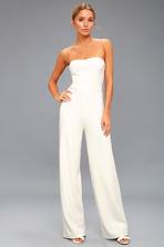 2bfcc107c4ec Chic White Jumpsuit - Wide-Leg Jumpsuit - Halter Jumpsuit