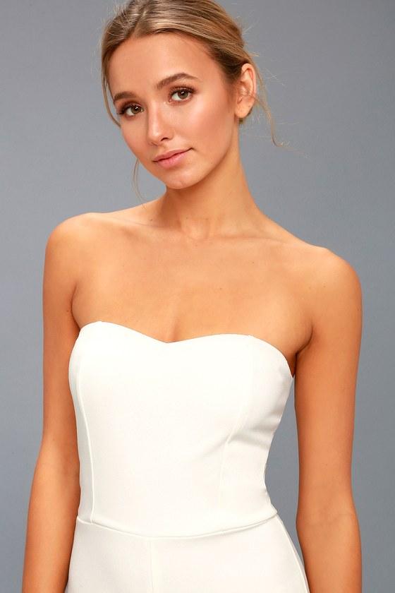 53407a54b879 Chic White Jumpsuit - Strapless Jumpsuit - Bridal Jumpsuit
