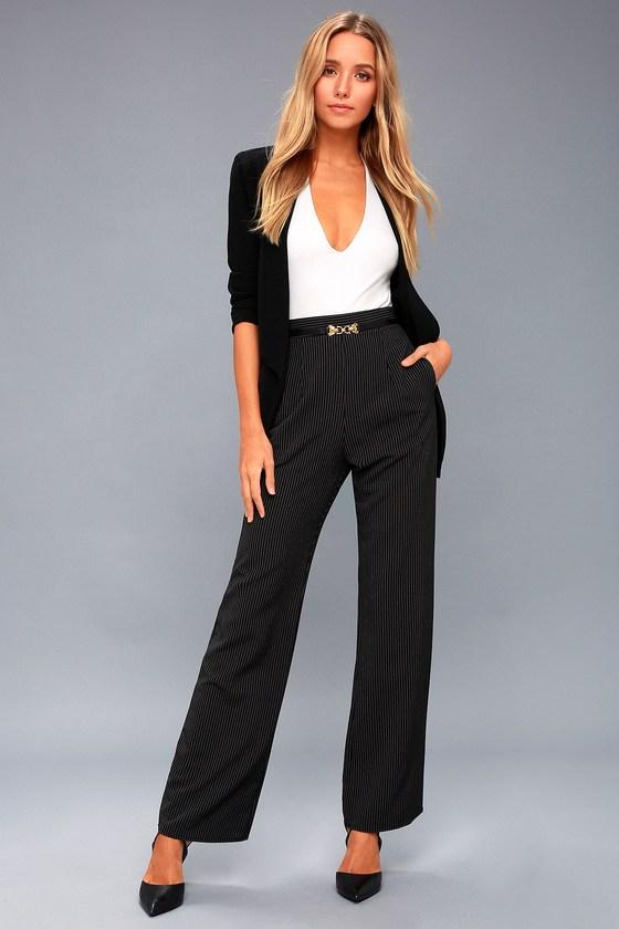 5d8fc1a46a Chic Black Pants - Trouser Pants - Striped Pants
