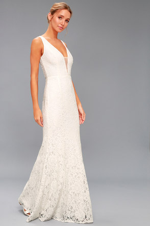 00e861bf54d Stunning White Lace Maxi Dress - Mermaid Dress