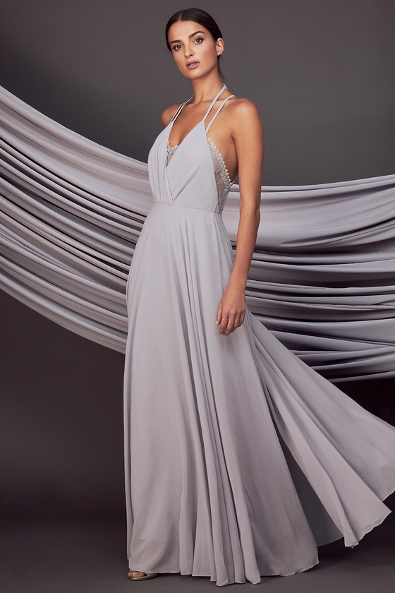 2dd743205c Lovely Grey Dress - Lace Dress - Maxi Dress - $106.00
