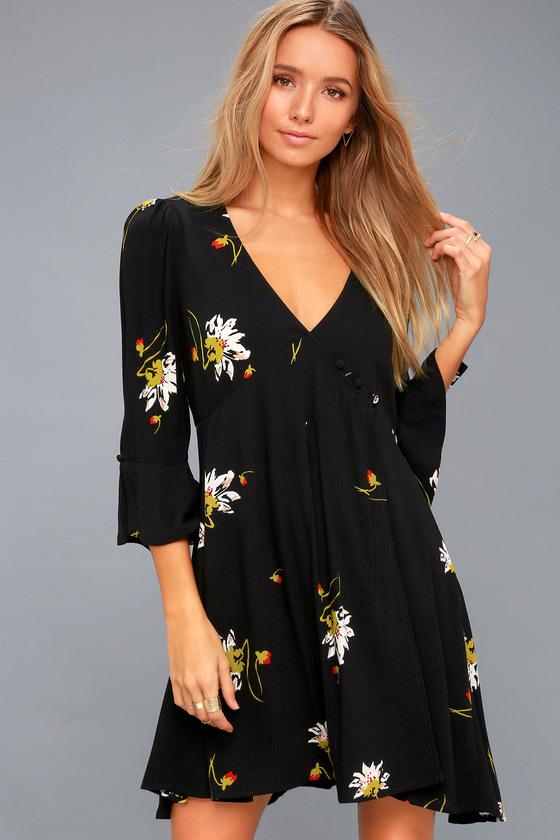 Free People On My Side - Black Floral Print Wrap Dress d078cb864