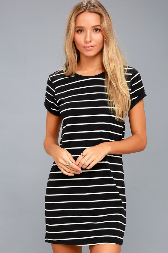 8d383fb02e Chic Black Striped Dress - Shirt Dress - Shift Dress
