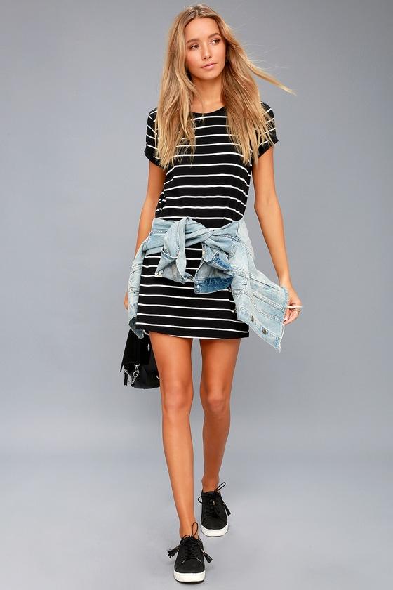 1f18efed210c Chic Black Striped Dress - Shirt Dress - Shift Dress