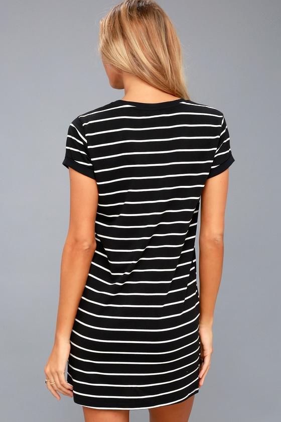 5f0afc9acca93 Chic Black Striped Dress - Shirt Dress - Shift Dress