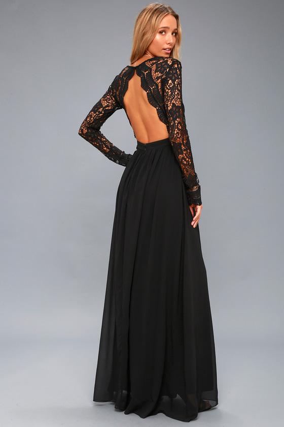 Lovely Black Dress - Maxi Dress - Lace Dress
