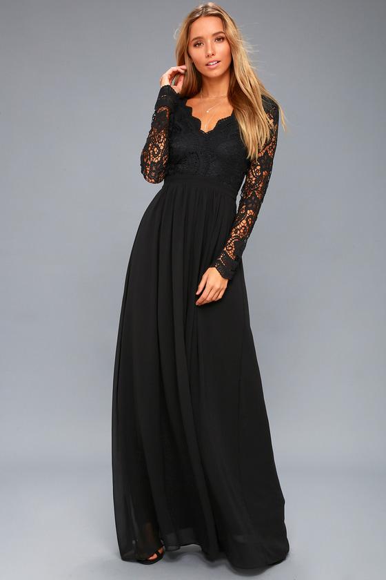 Black Dress - Maxi Dress - Lace Dress