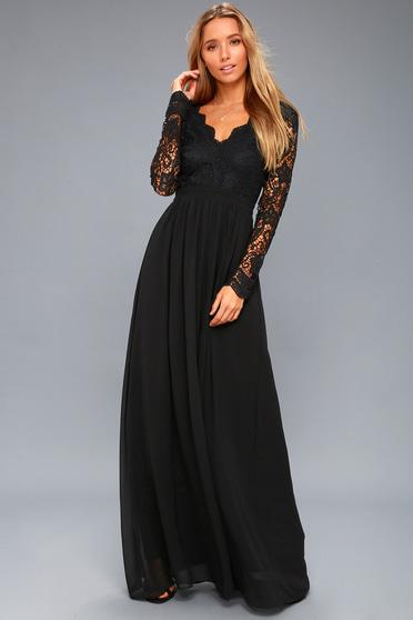 2279ed0434ee Awaken My Love Black Long Sleeve Lace Maxi Dress
