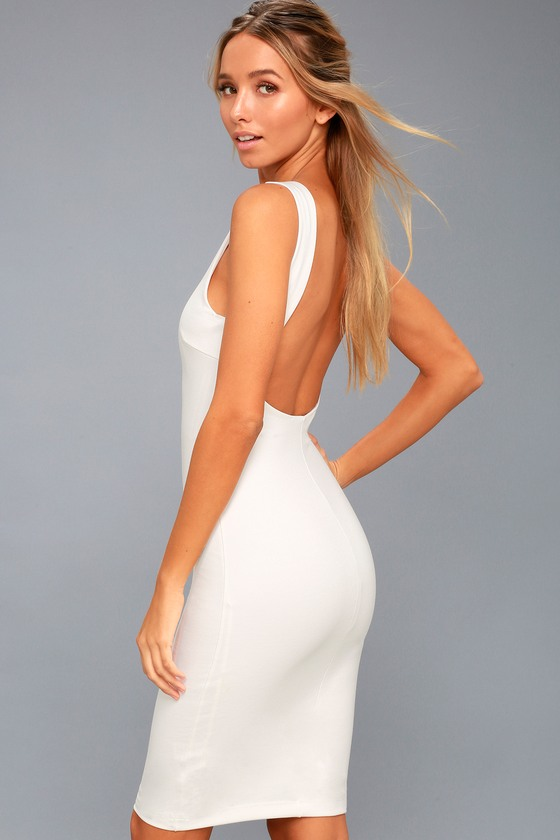 118e5d141d16 Chic White Dress - LWD - Midi Dress - Backless Dress