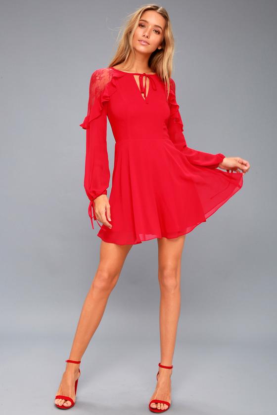 Long Sleeve Red Skater Dress