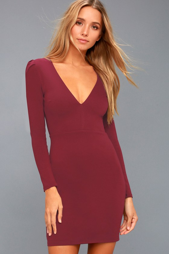 aeb60f72c913 Set the dance floor on fire in the Haute in Here Burgundy Long Sleeve Bodycon  Dress! Medium-weight stretch knit shapes this sizzling number, with a  plunging ...